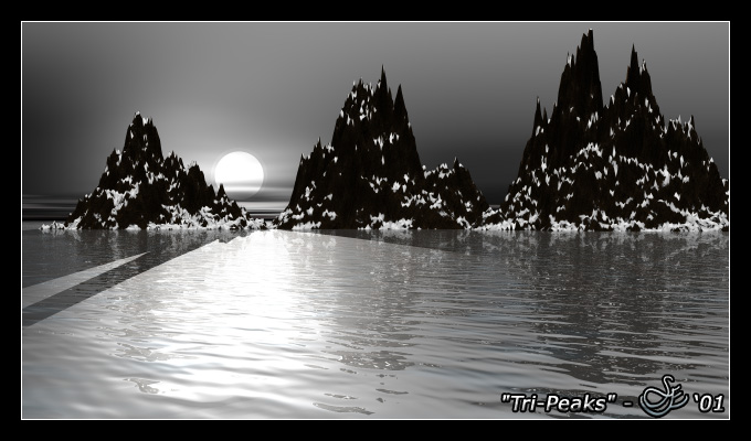 """""""Tri-Peaks"""" - Jun. 10, 2001 A cold crisp morning view on the water of Lake Tranquil. Feel the cool breeze on your face."""