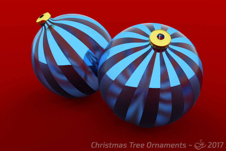 """Christmas Tree Ornaments"" - Dec. 24, 2017 The Christmas ornaments are placed on a red velvet cloth waiting to be hung on the tree. As they are picked up, the delicate filaments' vibration can be heard. Rendered with Blender Cycles."