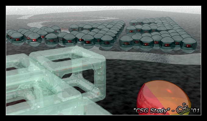 """""""CSG Study"""" - Oct. 31, 2001 A simple study of all CSG (Constructive Solid Geometry) functions provided in the POV-Ray rendering engine plus blobs and height fields."""