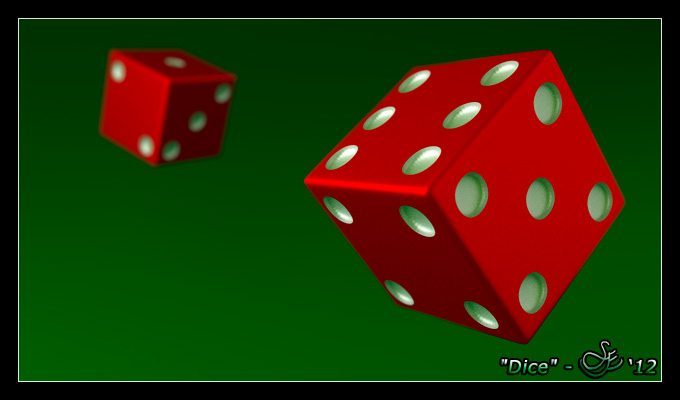 """Dice"" - Dec. 27, 2012 Luck of the throw. A pair of dice modeled with beveled edges and extruded pips. Rendered in Blender 2.65 using Cycles."