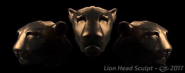 """""""Lion Head Sculpt"""" - Nov. 24, 2017 Head sculpt of a lion-type creature."""