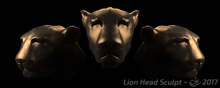 """Lion Head Sculpt"" - Nov. 24, 2017 Head sculpt of a lion-type creature."
