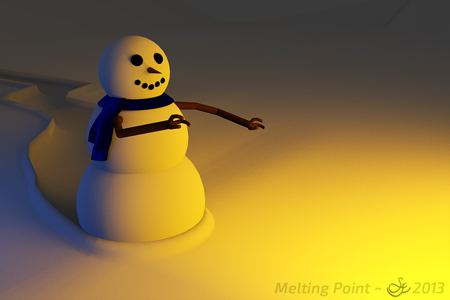 """Melting Point"" - Dec. 27, 2013 Snowman searching for warmth in a snowy landscape. Blender 2.69."