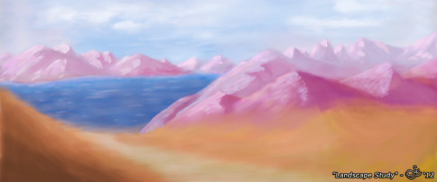 """Landscape Study"" - Dec. 11, 2012 MyPaint 1.0.0 study of a mountainscape and lake."