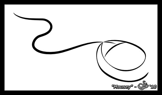 """Mousey"" - Oct. 23, 2010 An Inkscape cartoon drawing of a PS/2 computer mouse."