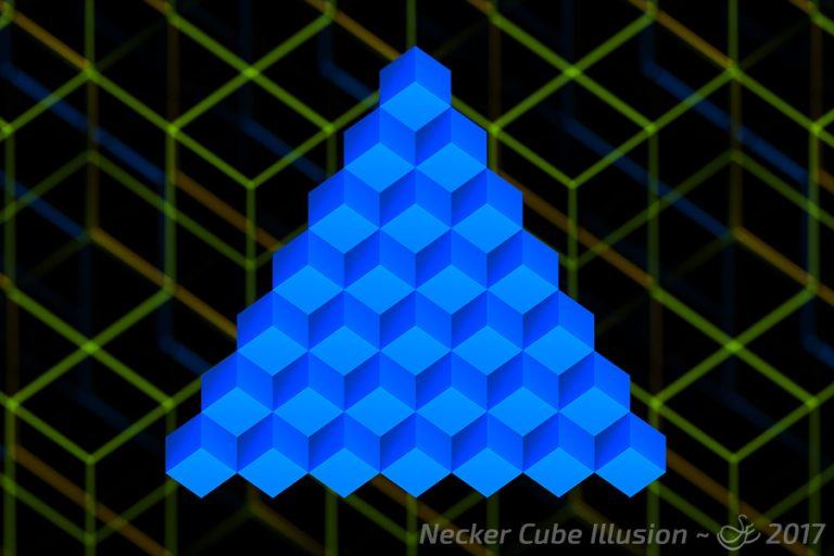 """Necker Cube Illusion"" - Nov. 4, 2017 The Necker Cube Illusion. Do you see 15 or 21 solid cubes, or are they stairs? The visual brain teaser created in Blender."