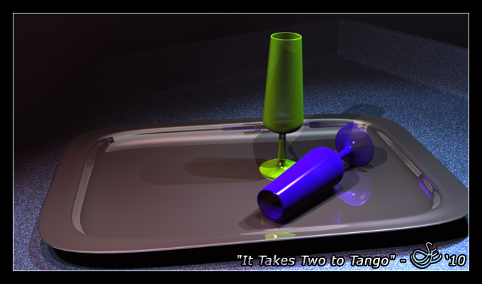 """It Takes Two to Tango"" - Jan. 9, 2010 Still life ray-traced wine goblets placed on a silver platter create nice reflections and shadows in this simple scene. Blender 2.49."