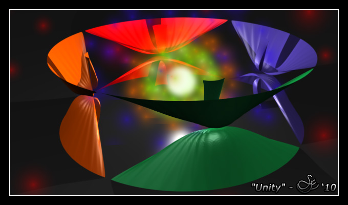 """Unity"" - Aug. 28, 2010 Four bodies merge as one. The sum of the whole is greater than all its parts. An abstract piece of 3D artwork entitled ""Unity"". Blender 2.49."